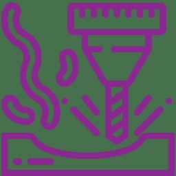 Piktogramm fräsen lila - Ekkehard Franz Kunststofftechnik GmbH seit 1946 zuständig deutschlandweit und in Europa