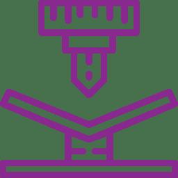 Piktogramm biegen lila- Ekkehard Franz Kunststofftechnik GmbH seit 1946 zuständig deutschlandweit und in Europa