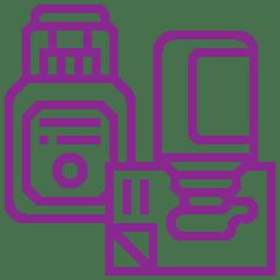 Piktogramm kleben lila - Ekkehard Franz Kunststofftechnik GmbH seit 1946 zuständig deutschlandweit und in Europa
