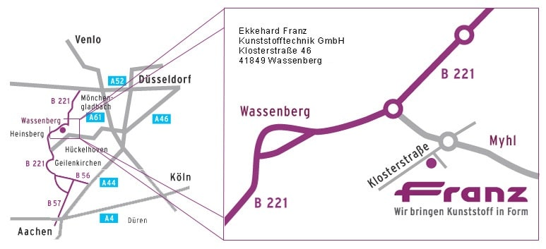 Standort und Anfahrtsweg Beschreibung - Ekkehard Franz Kunststofftechnik GmbH seit 1946 zuständig deutschlandweit und in Europa